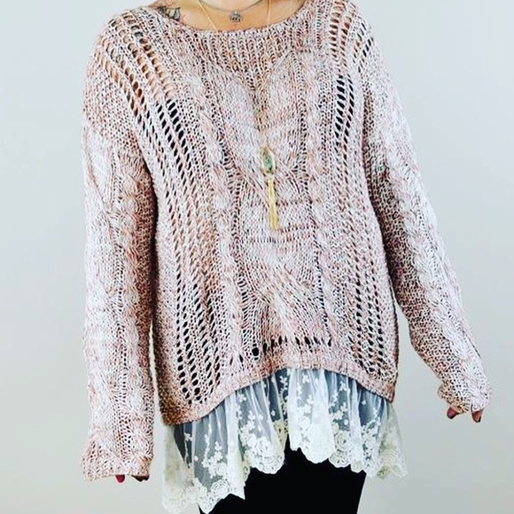 NWOT- Pink/Brown Laced Hem Oversized Knit Sweater